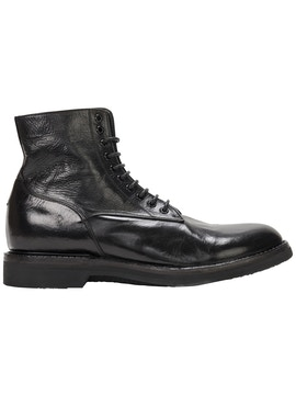 Black brushed leather boot