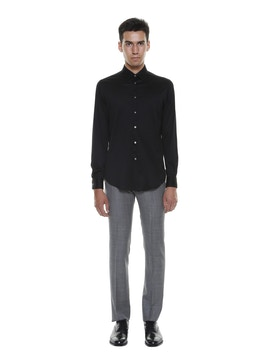 MERCERIZED COTTON LISLE SHIRT BLACK COLOR