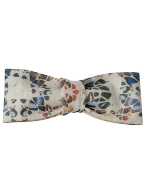 cream color geometric design bow tie