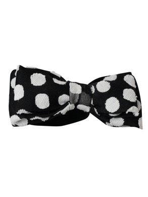 black and white polka dots bow tie