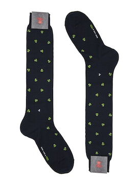Men's knee high sock. Frog print Color Blue/Green
