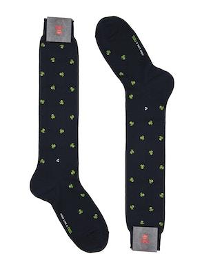 Men's knee high sock. Frog print Color Red