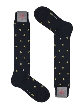 Men's knee high sock. Frog print Color Blue/Yellow