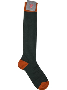 Men's knee high sock. Rib Color Green/ Orange
