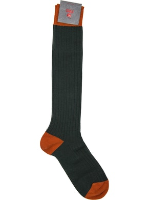 Men's knee high sock. Rib Color Green Orange