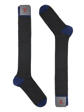 Men's knee high sock. Rib Color Gray/Blue