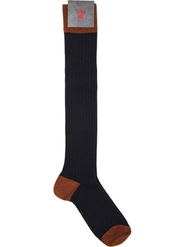 Men's knee high sock. Rib Color Navy Rust