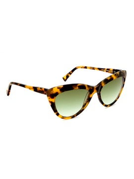 Meryl Blonde Tortoise - Gradient Green Lenses