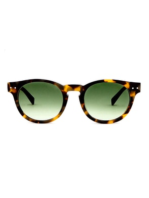 Woody Blonde Tortoise - Gradient Green Lenses