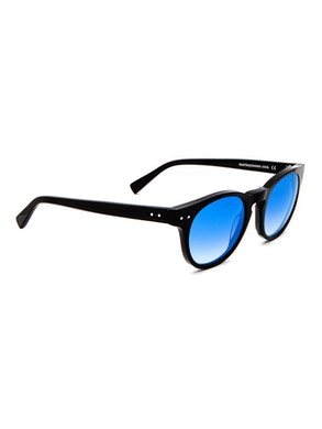 Woody Black - Gradient Blue Mirror Lenses
