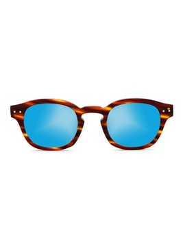 Johnny Striped Havana - Gradient Blue Mirror Lenses
