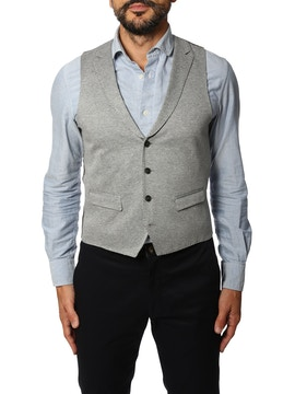 Grey gilet with geometric design